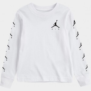 Boys' Toddler Jordan Air Time Long-Sleeve T-Shirt White Sales