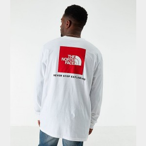 Men's The North Face Box Long-Sleeve T-Shirt White Sales