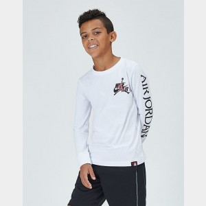 Boys' Jordan Mashup Classics Long-Sleeve T-Shirt White Sales