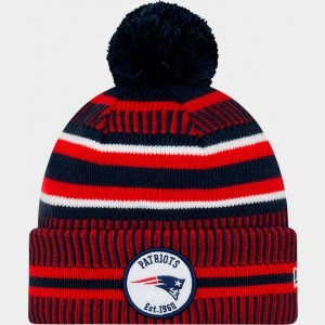 New Era New England Patriots NFL Home Striped Sideline Beanie Hat Team Colors Sales