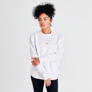 Women's Nike Sportswear Glam Dunk Crew Sweatshirt White/Metallic Sales