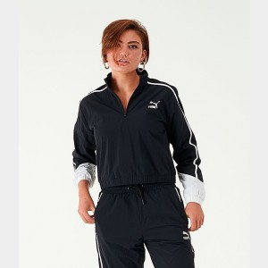 Women's Puma Colorblock Quarter-Zip Jacket Black/White Sales