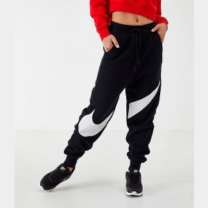 Women's Nike Sportswear Swoosh Fleece Jogger Pants Black/Black/White Sales