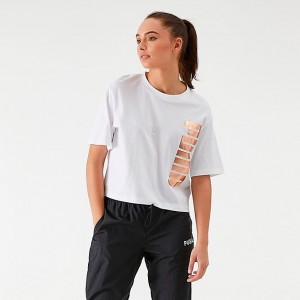 Women's Puma Amplified Cropped T-Shirt White/Gold Sales