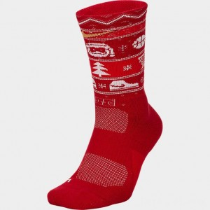 Unisex Nike Christmas Elite Crew Basketball Socks Gym Red/White Sales
