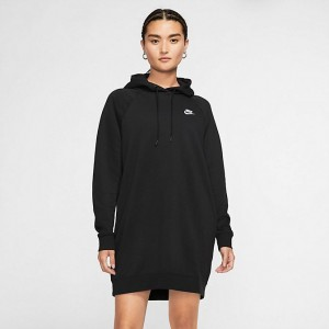 Women's Nike Sportswear Essential Fleece Dress Black/White Sales