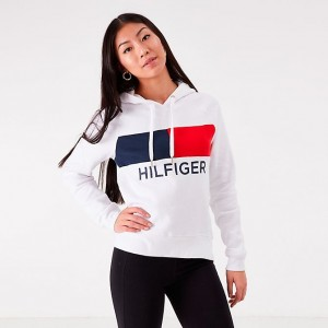 Women's Tommy Hilfiger Flag Hoodie White Sales