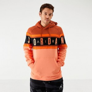 Men's Jordan Air Colorblocked Fleece Pullover Hoodie Dark Russet/Orange Sales