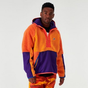 Men's Nike Sportswear Sherpa Half-Zip Hoodie Kumquat/Court Purple/Amber Rise Sales