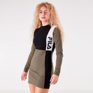 Women's Fila Ophelia Long-Sleeve Dress Black/Dusty Olive Sales