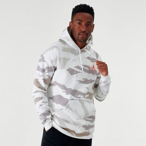 Men's Jordan Jumpman Camo Fleece Hoodie White/Infrared Sales