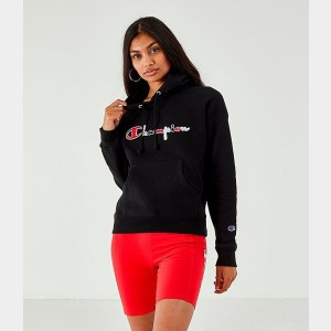 Women's Champion Reverse Weave Color Script Pullover Hoodie Black Sales