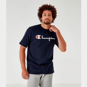 Men's Champion Flocked T-Shirt Navy Sales