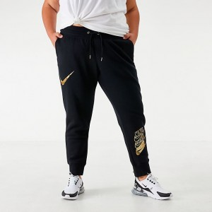 Women's Nike Sportswear Shine Jogger Pants (Plus Size) Black/Metallic Gold Sales