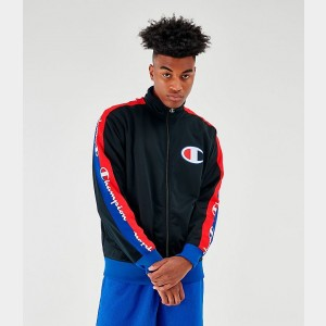 Men's Champion Poly Tape Track Jacket Black Sales