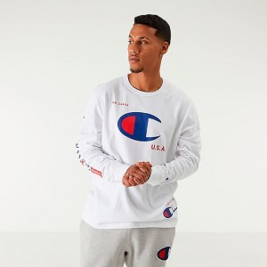 Men's Champion MCMXIX Long-Sleeve T-Shirt White Sales