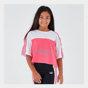 Girls' adidas Originals Crop T-Shirt White/Black Sales