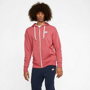 Men's Nike Sportswear Heritage Full-Zip Hoodie Gym Red/Heather Sales