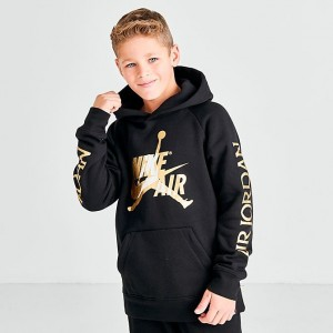 Boys' Jordan Jumpman Metallic Hoodie Black/Gold Sales