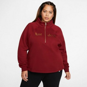 Women's Nike Sportswear Shine Half-Zip Fleece Top (Plus Size) Team Red/Team Red/Metallic Gold Sales