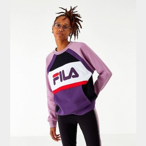 Women's Fila Emi Colorblock Crewneck Sweatshirt White/Blue Sales