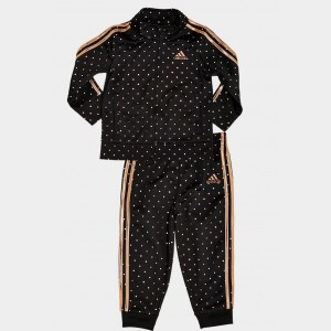 Girls' Infant adidas Polka Dot Tricot Track Jacket and Jogger Pants Set Black/Metallic Sales