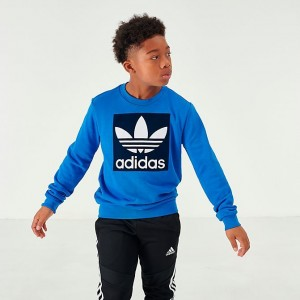 Boys' adidas Originals Trefoil Crew Sweatshirt Bluebird/Collegiate Navy Sales