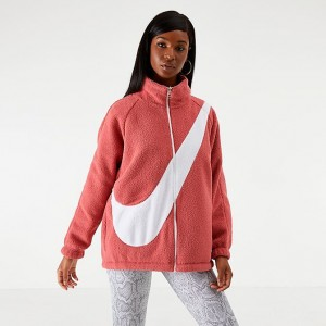 Women's Nike Sportswear Swoosh Sherpa Reversible Jacket Light Redwood/White Sales