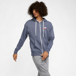 Men's Nike Sportswear Heritage Full-Zip Hoodie Midnight Navy/Heather Sales