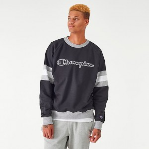 Men's Champion Arm Stripe Crewneck Sweatshirt Black Sales