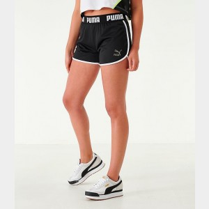 Women's Puma Tape Athletic Shorts Black/White Sales
