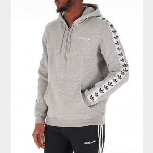 Men's adidas Originals Tape Fleece Overhead Hoodie Grey Marl Sales