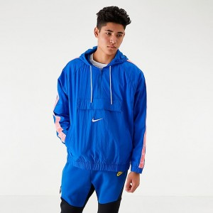 Men's Nike Sportswear Swoosh Woven Jacket Game Royal/White/Pink Gaze Sales
