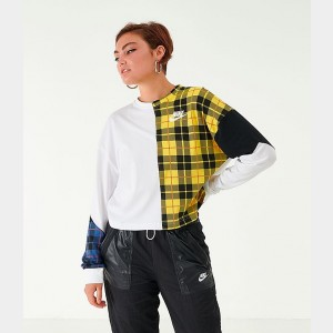 Women's Nike Sportswear Plaid Long-Sleeve Cropped T-Shirt White/Plaid Sales