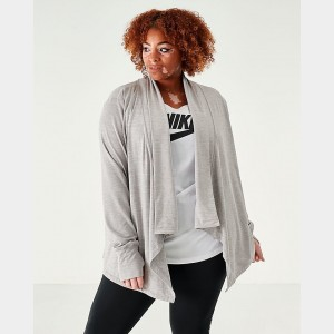 Women's Nike Yoga Long Sleeve Wrap Top (Plus Size) Grey Heather Sales