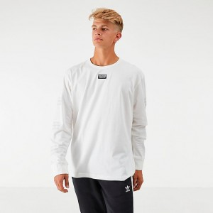 Men's adidas Originals R.Y.V. Logo Long-Sleeve T-Shirt White Sales