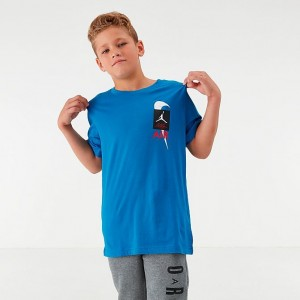 Boys' Jordan AJ4 T-Shirt Military Blue Sales