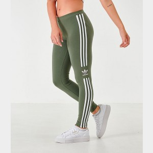 Women's adidas Originals Trefoil Leggings Olive/White Sales