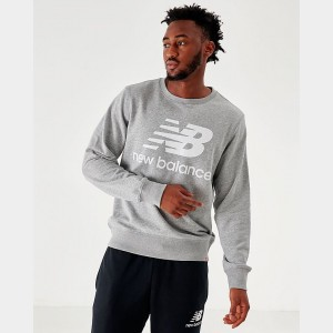 Men's New Balance Essentials Stacked Logo Crewneck Sweatshirt Grey Sales