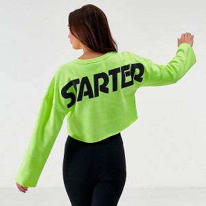 Women's Starter Crop Crew Sweatshirt Neon Green Sales
