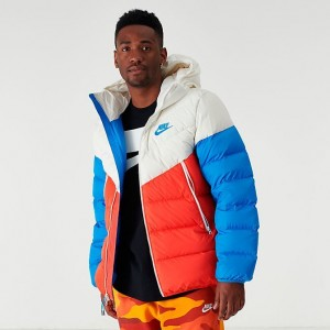 Men's Nike Sportswear Windrunner Down Fill Jacket Salt/Red/Blue Sales