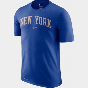 Men's Nike Dri-FIT New York Knicks NBA City T-Shirt Blue Sales