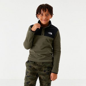 Boys' The North Face Glacier Half-Snap Sweatshirt Taupe Green Sales