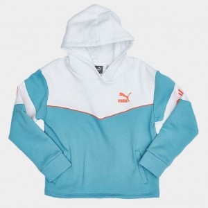 Girls' Puma XTG Colorblock Hoodie White/Blue/Orange Sales