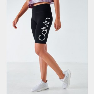 Women's Calvin Klein Logo Bike Shorts Black/White Sales