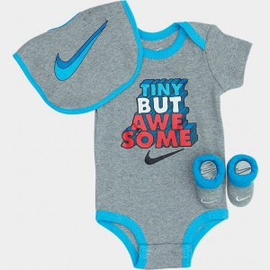 Infant Nike Tiny But Awesome 3-Piece Box Set Dark Grey Heather Sales