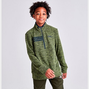 Boys' adidas Microfleece Half-Zip Sweatshirt Tech Olive/Navy Sales