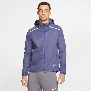 Men's Nike Shield Hooded Running Jacket Sanded Purple Sales