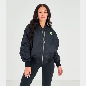 Women's Starter Bomber Jacket Black/Neon Green Sales