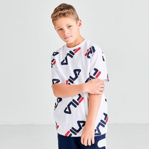 Boys' Fila Ricardo T-Shirt White Sales